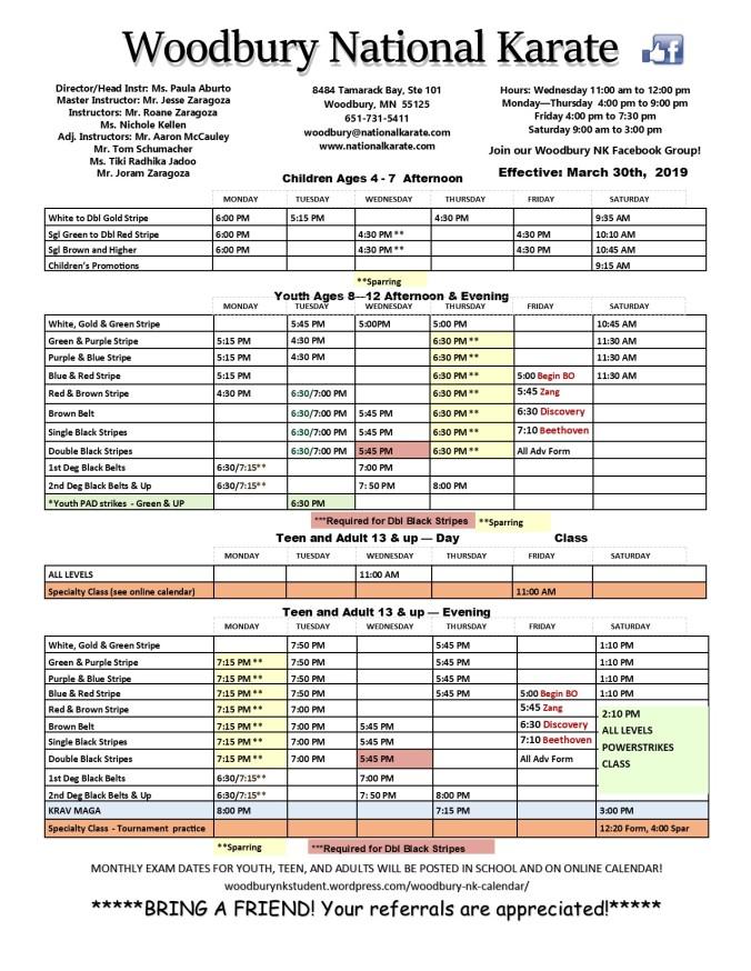 March 30, 2019 schedule